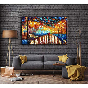 Cheap Canvas Paintings Colorful Thick Oil Palette Knife Wall Art Couple Walk in Rainy Park