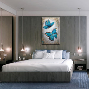 Wall Artwork Blue Butterfly Lover Canvas Painting Unframed Decor Living Room