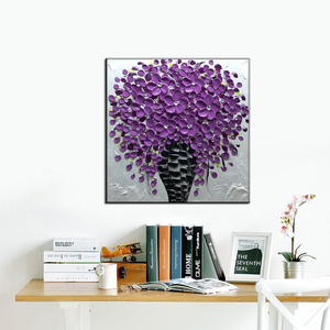 Modern and Contemporary Art Purple Flower Black Vase Canvas Painting