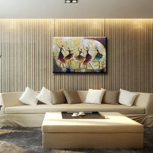 Five Girls Dancing Ballet Horizontal Big Canvas Decor Kitchen