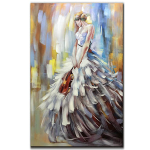 Canvas Art Paintings Elegant Girl with Flowing Skirt Holds Violin