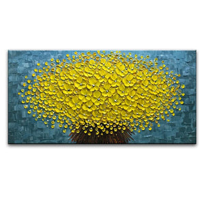 Yellow Bouquet Light Blue Texture Background Modern Canvas Wall Art