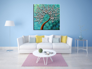 Modern Fine Art White Flower Light Blue Canvas Painting for Study Room
