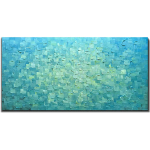Modern Oil Painting Canvas Light Sea Blue Clearly Thick Textured Decor Home