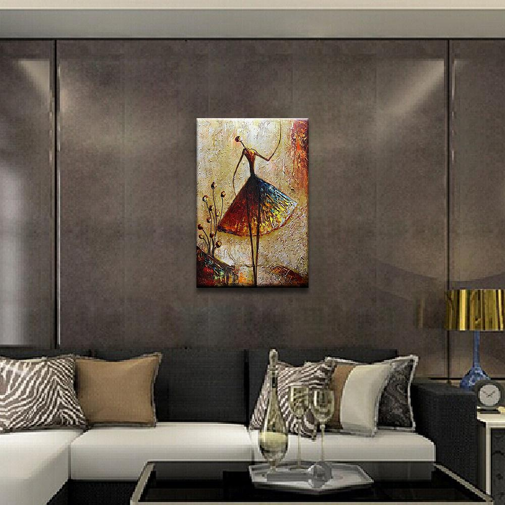 Vertical Abstract Slim Lady Dressed Skirt Canvas Art for Hallway