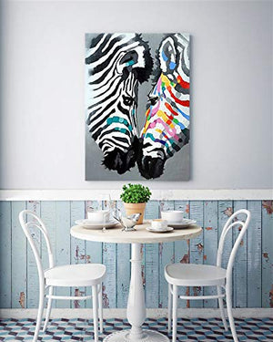 Modern Paintings for Living Room Zebras Kiss Perfect Gift For Lovers