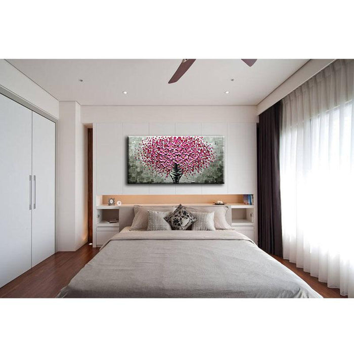 Horizontal Modern Wall Art  Pink Flower Tree for Living Room