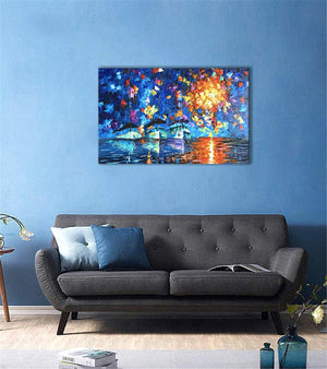 Modern Artwork for Living Room Large Ships Sail Blue Ocean Original Painting Gift Friends