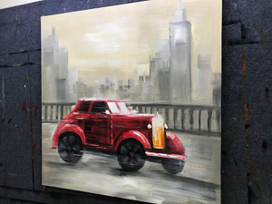 Modern Canvas Acrylic Oil Painting Red Car Driving on the Road Decor Home Wall