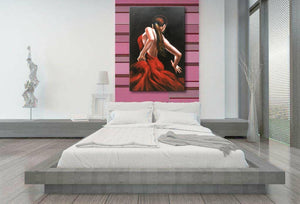 Acrylic Knife Painting Lady Dancer Red Dress Dance Trippingly Decor Living Room