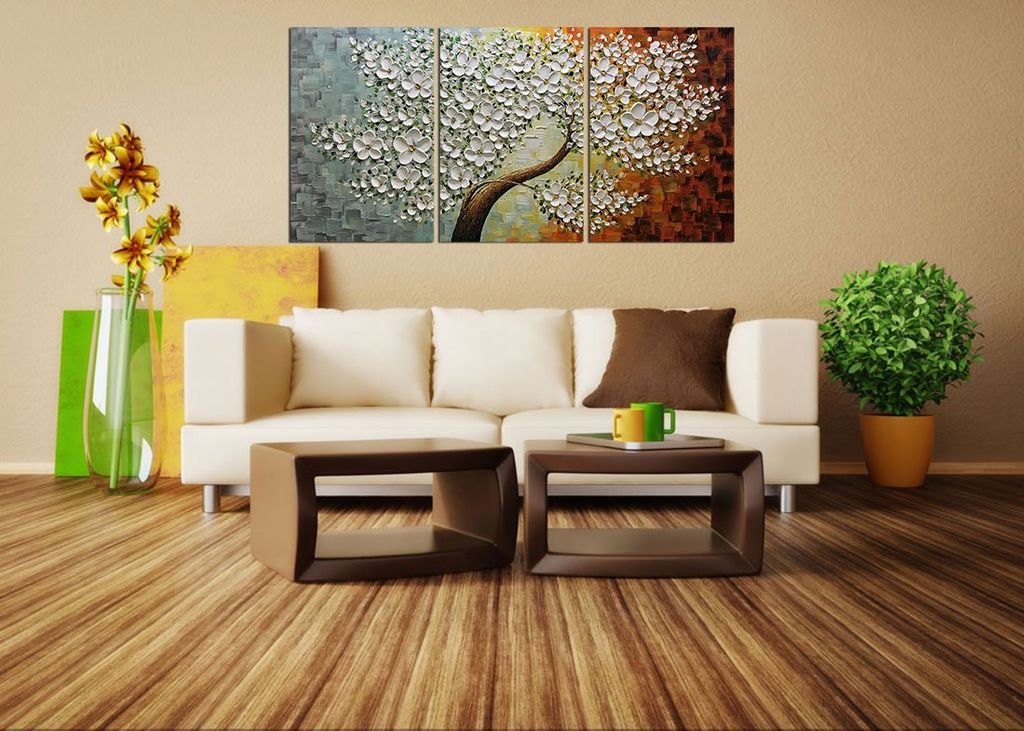 Multi Canvas Painting Luxuriant White Flower Tree Wall Art Decor Home