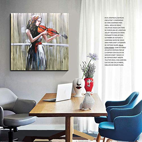Big Canvas Wall Art Beautiful Girl Play Violin Square Oil Painting