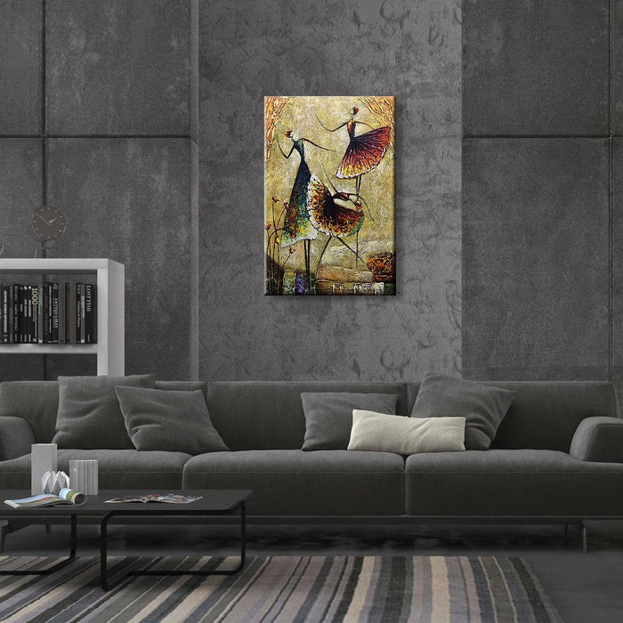 Three Abstract ladies dancing on oil painting canvas for Living Room