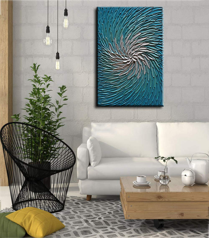 Large Art Paintings Slim Long Petals Flower Handmade Knife Painting Decor Living Room