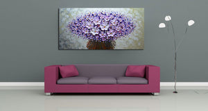 Modern Oil on Canvas Art Purple Bouquet 3D Hand Painted Waterproof Wall Art