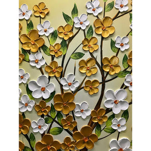 Vertical Gold and White Flower Tree Oil Painted Canvas Wall Art