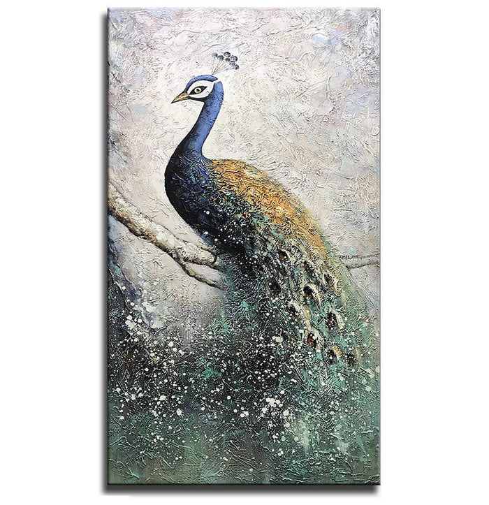 Decor Hallway Large 3D 100% Hand-painted Blue Peacock Canvas Paintings