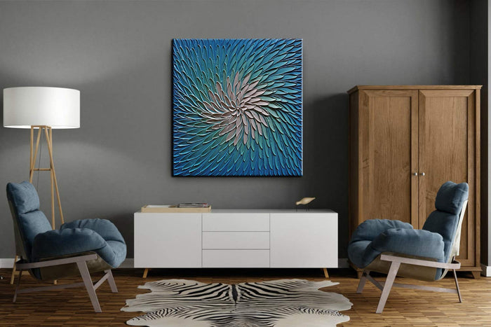 Oil Painting Artwork for Bedroom Living Room Blue White Knife Palette Art