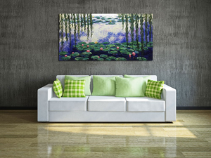 Hand Painted Oil Painting Artwork Lotus Pond Willow for Blank Wall