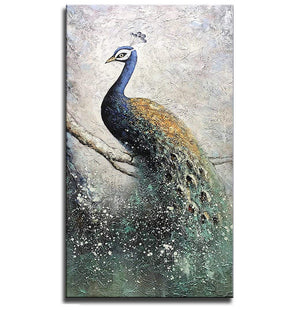 24*48inch Save $42 ($105.99 on Amazon) Blue Peacock Oil Paintings Framed Ready to Hang (Only for US)