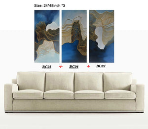 3 Piece Wall Canvas 24*48 Inch Gold Wave Line Abstract Oil Paintings