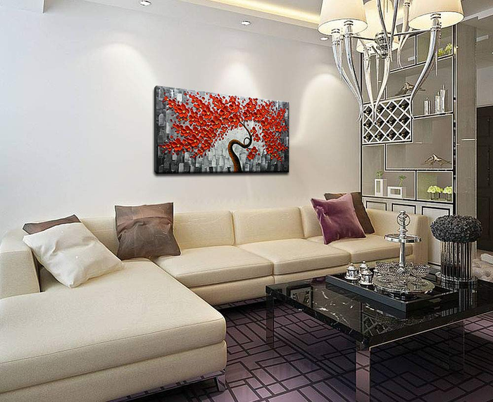Contemporary Art Painting Red Flower Tree for Living Room Bedroom