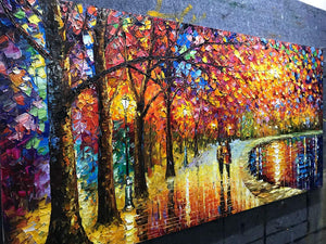 Oil Painting Wall Decor Partner Walk for Lake Hand Painted Canvas Art