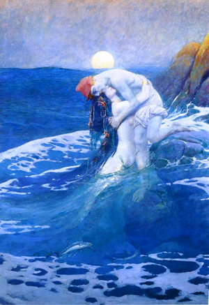 Famous Canvas Oil Painting for Sales The Mermaid-Howard Pyle