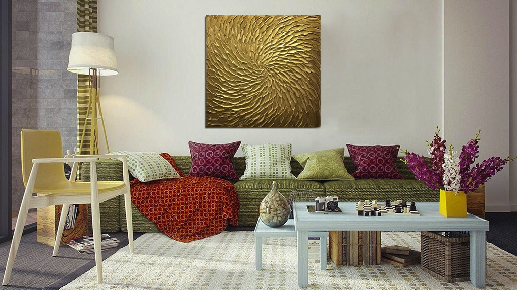 Handmade Oil Painting Abstract Gold Square Decor Living Room or Gift