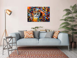 Oil Paintings Online Handmade Colorful Little Cat Canvas Art Artwork Decor Living Room