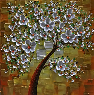 Original Acrylic Painting for Sale White Flower Tree Square Canvas Art