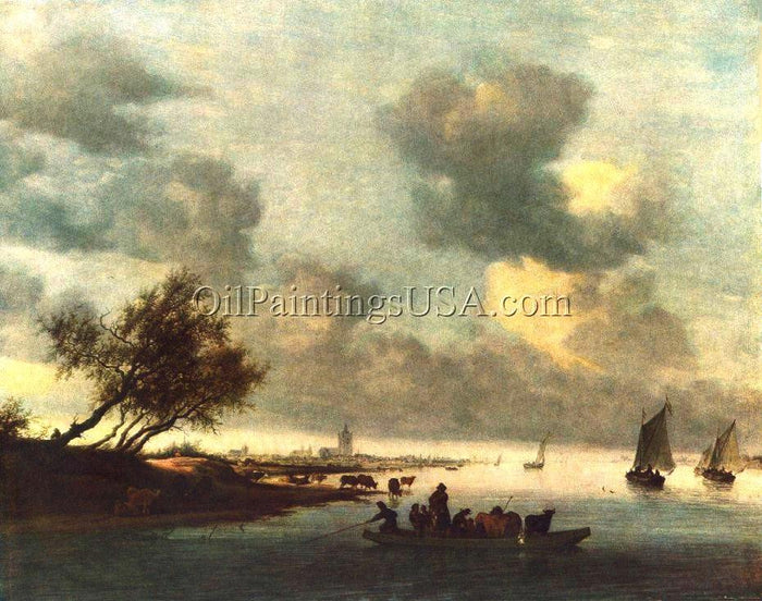 Original Art Salomon Van Ruysdael A Ferry Boat Near Arnheim