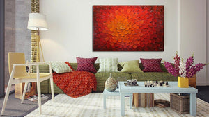 Original Paintings for Sale Red Abstract Thick Oil Canvas Art Decor Bedroom