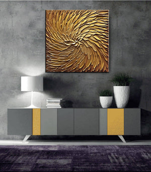 Original Art Oil Paintings for Living Room Gold Large Handmade Wall Art