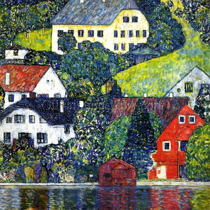 Original Art Painting Gustav Klimt Houses at Unterach on the Attersee