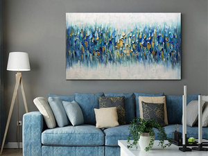 Original Canvas Oil Painting Slight Blue irregular Decor Living Room
