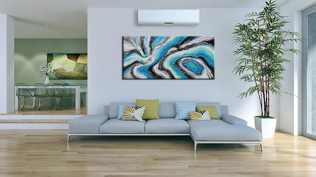 Large Original Oil Paintings Abstract Blue Unframed Handmade Canvas Art