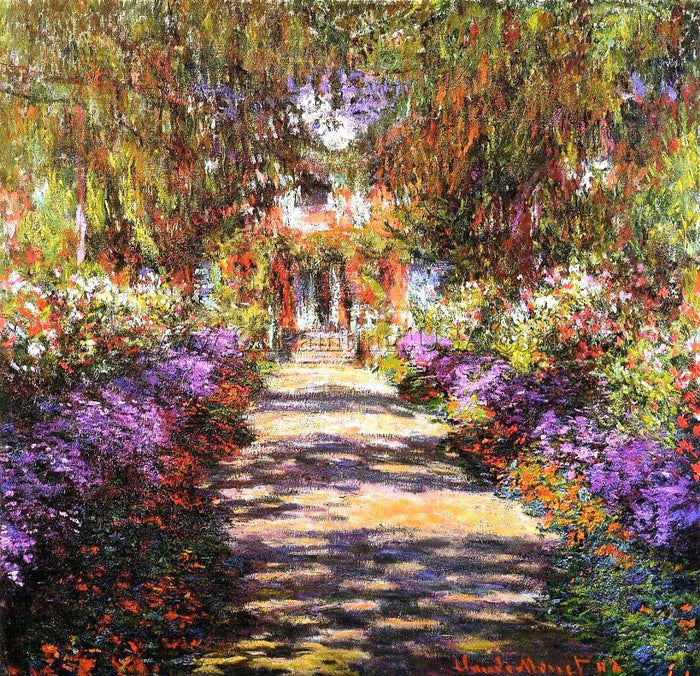 Original Oil Paintings Claude Monet Pathway in Monets Garden at Giverny