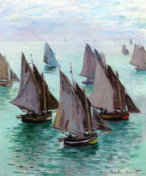 Original Paintings Claude Monet Fishing Boats Calm Weather