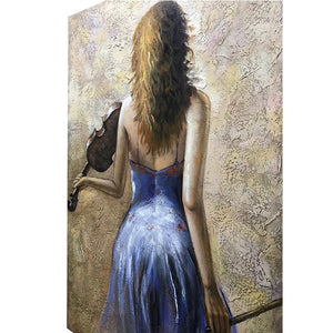 Elegant Violin Blue Dress Girl's Back Original Wall Art