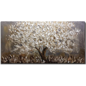 Original Acrylic Paintings for Sale Silver Flower Tree Decor Living Room