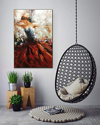Original Art for Sale Beautiful Girl Dance Vertical Unframed Canvas Painting