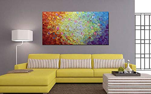 Oversized Paintings on Canvas Multi-color Acrylic Knife Palette Paintings