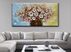 Oversize Wall Art for Living Room Single White Flower Bouquet Oil Painting