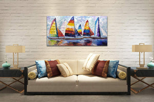 Oil Paintings by Artist 100% Handcrafted Colorful Sailing Boat Canvas Art