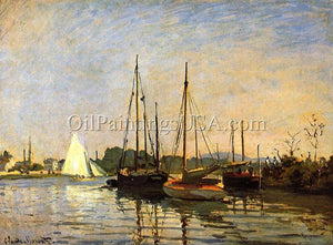 100% Hand Painted Painting Artwork Pleasure Claude Monet Boats