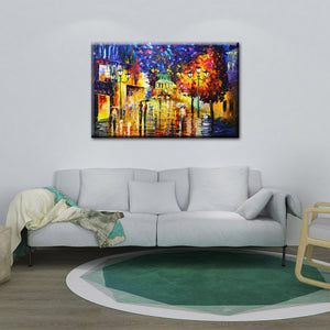 Abstract Painting Images Multi-color Rainy Bustling Streets Strolling