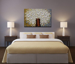 Bedroom Art Paintings Oval White Flower Tree Canvas Art No Fade