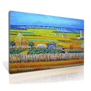 Painting Reproduction Van Gogh Wheat Field with Reaper and Sun