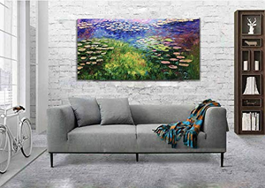 Original Modern art Countryside Lotus Pond under Moonlight